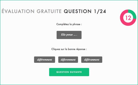 L'évaluation gratuite est composée d'une consigne, d'une phrase de travail et plusieurs réponses, le tout dans un temps limité.